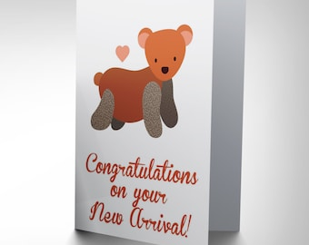 New New Baby Arrival Congratulations Teddy Bear Art Greetings Card CP1650