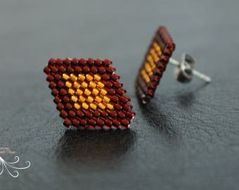 Stud earrings, Beaded earrings, Beadwork earrings, Beaded jewelry, Beadwoven earrings, Seed bead earrings, bead weaving jewelry