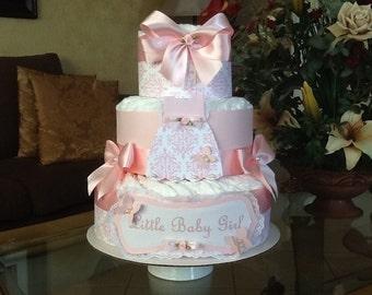 Baby Girl Diaper Cake Pink elegant Diaper cake Baby shower gift/ centerpiece three tier Diaper cake