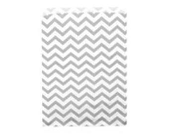 """100 Silver Chevron Merchandise Retail Paper Party Favor Gift Bags 6"""" x 9"""" Tall"""