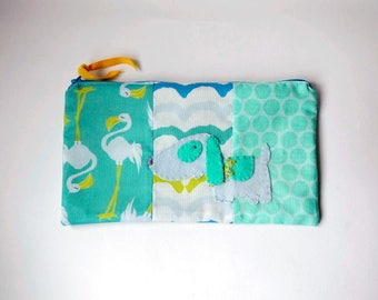 "Zipper Pouch, 5.5x9.25"" in aqua, teal, lime, white and blue flamingo print fabric with Handmade Felt Dog Embellishment, Puppy Zipper Pouch"
