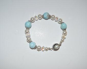 Larimar, Crystal & Pearl Bracelet, Larimar Bracelet, Caribbean Inspired Jewelry, Larimar Jewelry
