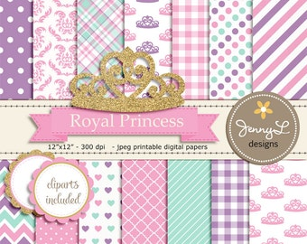 Royal Little Princess Digital papers and Clipart, Gold Crown Girl Baby Shower, Birthday Pink Birth Announcement, Scrapbooking Party Theme