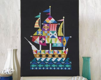 Voyage - Pirate Ship - Satsuma Street cross stitch pattern PDF - Instant download
