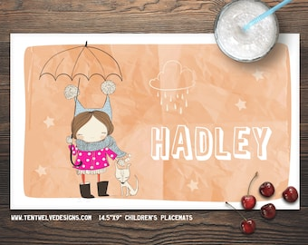 SWEET GIRL Personalized Placemat for Kids - Children's Placemat, Personalized Kid's Gift, Fast Shipping - dark hair, dog, rain, cute girl