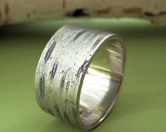 Birch Ring, Men's Wide Birch Tree Bark Wedding Band in 14k Palladium White Gold, Free Engraving
