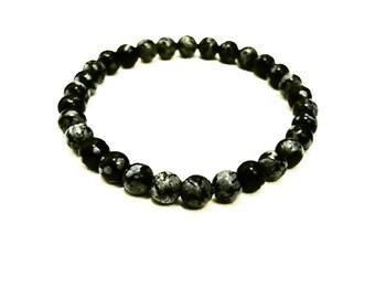 Snowflake Obsidian Beaded Bracelet