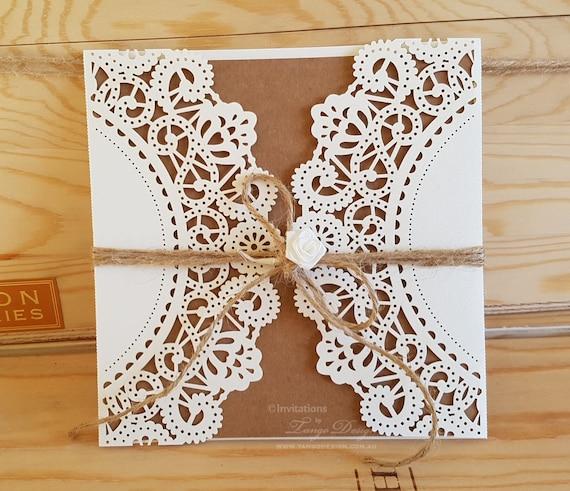 DIY wedding invitation Kit. RUSTIC lace invitation. DIY