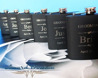 7 Groomsman Flask Set ~With Free Engraving~ 6 oz Black Stainless Steel Flask