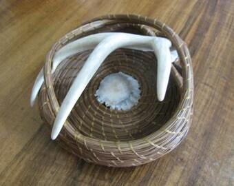 Pine Needle Deer Antler Basket with Caribou Antler Button