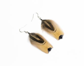 Real feather earrings in earthy colors Organic earrings Bohemian jewelry Lightweight earrings Natural earring Short earring Pheasant feather