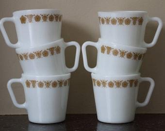 Pyrex Butterfly Gold Mugs - Set of 6