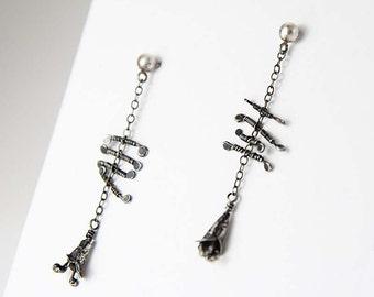 Artisan Sterling Silver Stud Earrings - Foxglove - Dangling, Handmade, Wire Wrapped