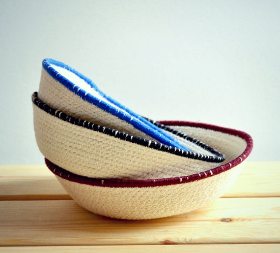 Small decor cotton rope bowls for a home office or as a bedside tray.  Decorative Mediterranean baskets for a natural home decor.