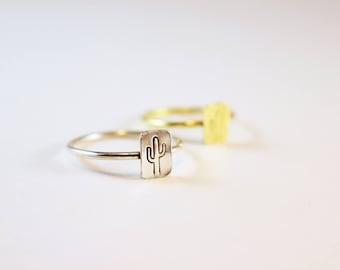 Desert Cactus Rings in Brass or Silver