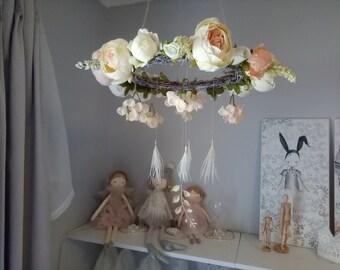 Handmade flower mobile nursery or bedroom