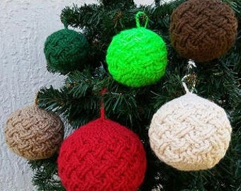 Woodland Themed Celtic Weave Bauble Ornament, Crocheted Ornament, Handmade Ornament, Small Bauble Ornament, Custom Made Ornament