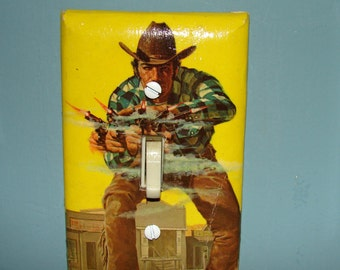 1960s Paperback Light Switch Cover Western Gun Man Quick Draw