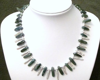 Unique Necklace of Dark Green Moss Agate and White Freshwater Stick Pearls
