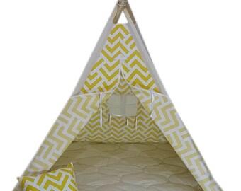 kids Teepee Tent kids tent kids teepee cotton floormat pillow Tent House pine wood cotton tipi tent playhouse yellow