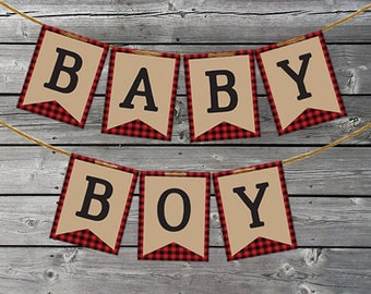 Lumberjack, Buffalo Plaid Baby Shower Decorations - Lumberjack Banner - Print At Home