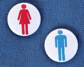 Man And Woman - Set of 2 Buttons Pinbacks Badges 1 inch