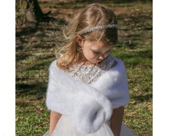 FLOWER GIRL Faux Fur Stole, 7  COLORS, Child Size faux fur wrap, shrug, shawl