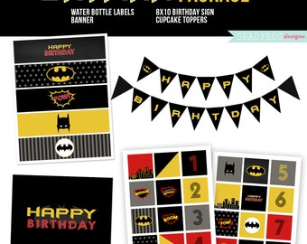 Batman Birthday Printables, Cupcake Toppers, Water Bottle Labels, Birthday Print, Printable Banner, Batman Birthday, Boy, Instant Download