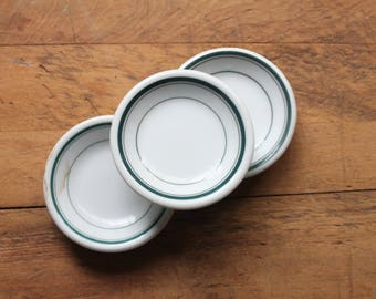 Set Three Green White Ironstone Butter Pats, Jewelry Dishes, Trinket Dishes, Great gift for Bridesmaids, Mothers Day Gift