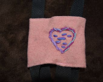 Water Bottle Holder - Purple and Pink Heart