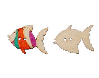 5 large wood buttons - Colorful fish funny - 2 holes - 26x19mm