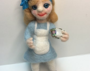 Needle felt Alice in Wonderland Alice ooak art Doll Felted poseable doll After All Art