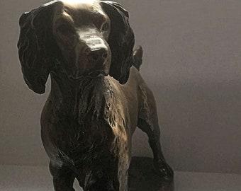 "Bronze figure of a Springer Spaniel by ""David Geenty"""