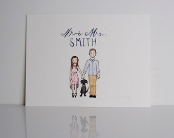 Couple Illustration Custom Watercolor // Personalized Painting // Home Decor // Cute Family Art // Mr & Mrs // Wedding Shower Gift / Wedding