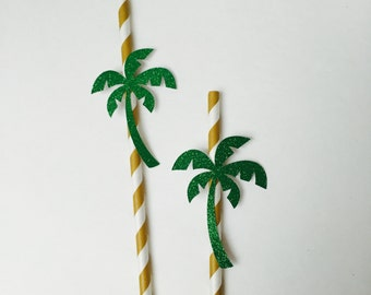 10 ct Summer Party Straws. Palm tree straws. Hawaiian party. Lua party. Summer birthday.
