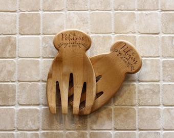 Personalized Kitchen Utensils, Custom Salad Tossers, Personalized spoon, Personalized Spatula, Salad Hands  --22027-UT02-001