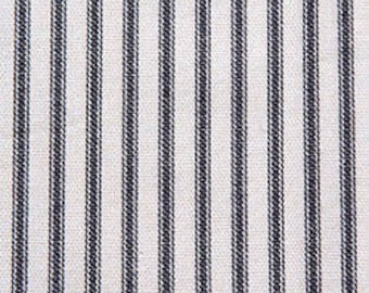 Berlin Black, Magnolia Home Fashions - Ticking Stripe Cotton Upholstery Fabric By The Yard