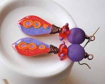 Purple Earrings, Abstract Earrings, Hand Painted Earrings, Pebeo Jewelry, Wire Wrapped Jewelry, Boho Hippie Earrings, Artisan Earrings