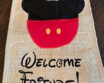 Mouse Head Mickey Embroidered Burlap Garden Flag Door Hanger