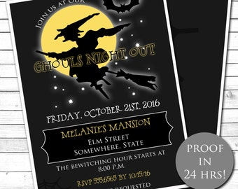 Halloween Party Invitation, Ghouls Night Out, Witch Invitation, Halloween Invitation, Costume Party Invitation