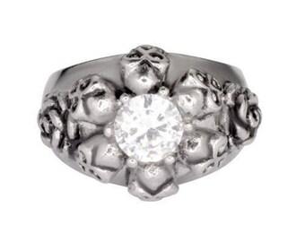 Womens Biker Motorcycle Heavy Metal NEW Stainless Steel 6 Skull/Rose Ring Sz 5-9