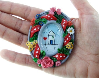 Original Miniature Painting, Acrylic Painting, Home Decore, Dollhouse Tiny Art, Tiny Painting, SALE 50% off