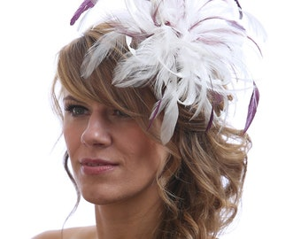 Ivory & Wine/Burgundy Feather Fascinator Hat-Headband or comb Any colour can be ordered - Wedding,Bridal,Mother of the Bride,Tea Party,Ascot