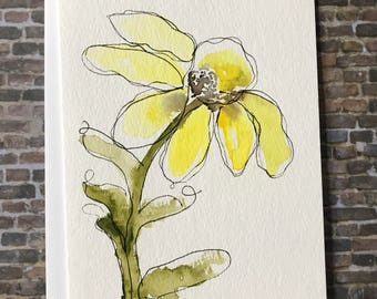 Watercolor Yellow Flower Card, Homemade Yellow Flower Card,  Original Greeting Card