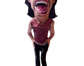 Mick Jagger paper mache figure