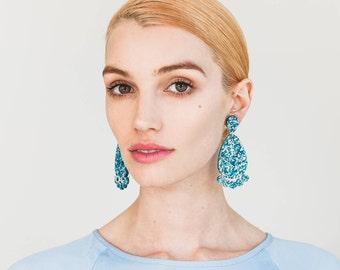 Super Lush Drop Earrings - Ice Blue Riot - Laser Cut Glitter Drops - Each To Own