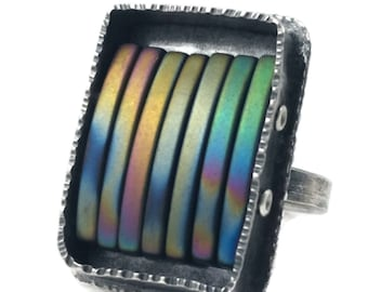 Rainbow Hematite Sterling Silver Ring