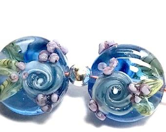 Blue Roses, handmade lampwork beads, pair