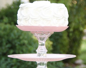 Wedding Cake Stand Cupcake Stand Pink Vintage Reclaimed Made To order