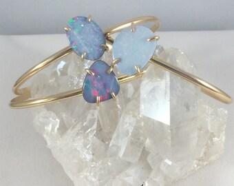 Opal Bracelet, Opal Cuff, 14k gold cuff, gold fill cuff, gold opal cuff, gold opal bracelet, blue opal bracelet,Australian opal,opal jewelry